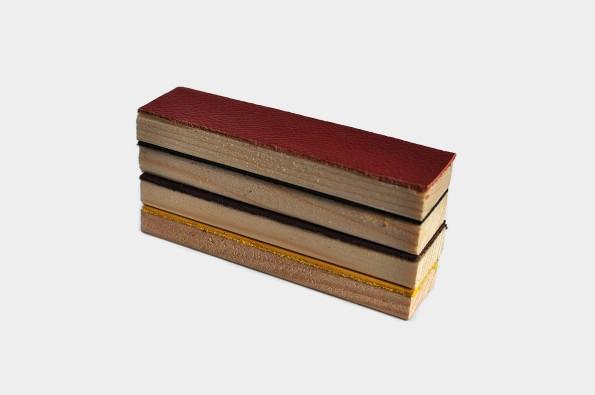 Fährtengegenstände Holz mit Leder